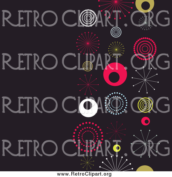 Clipart of a Retro Background with Colorful Bursts and Bubbles