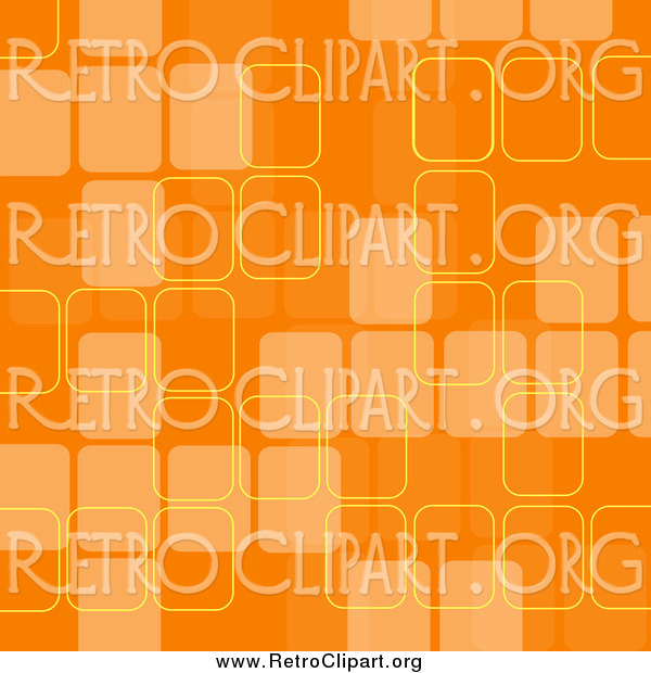 Clipart of a Retro Background with Faded Orange Squares and Yellow Outlines