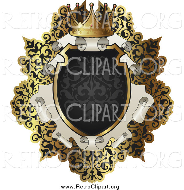 Clipart of a Retro Black and Gold Scroll Frame with Text Space