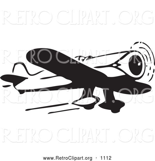 Clipart of a Retro Black and White Airplane