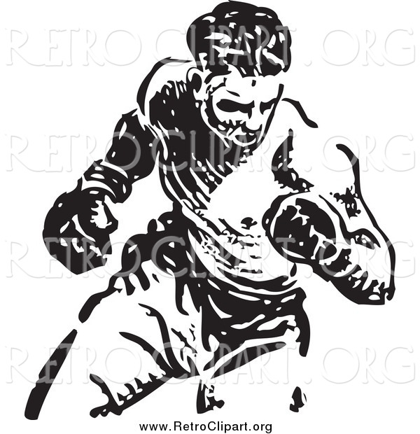 Clipart of a Retro Black and White Boxer Fighter