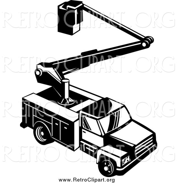 Clipart of a Retro Black and White Bucket Utility Truck from Above