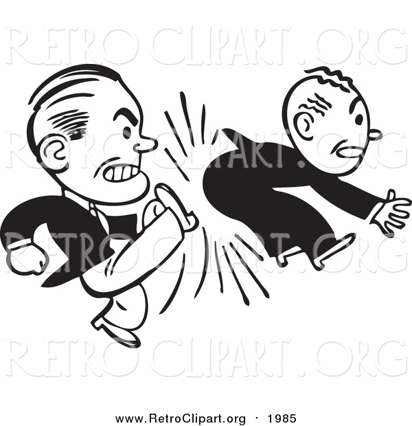 Clipart of a Retro Black and White Business Man Kicking Another in the Butt