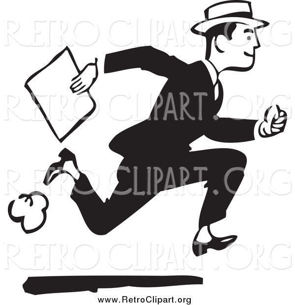 Clipart of a Retro Black and White Businessman Running with a Document