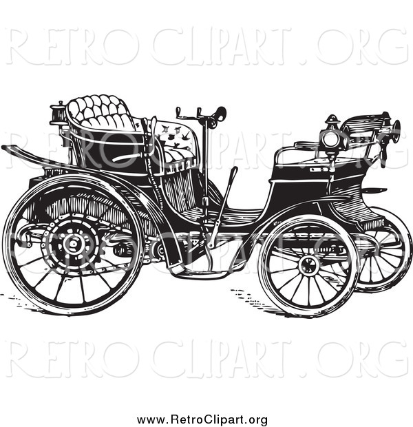 Clipart of a Retro Black and White Car