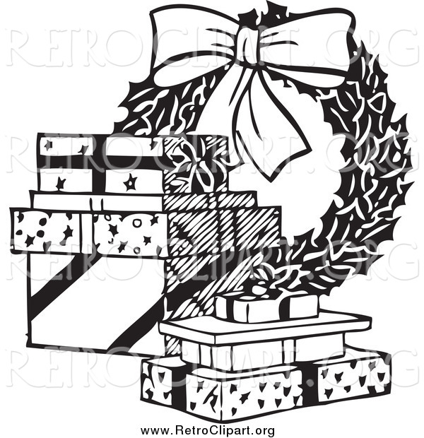 Clipart of a Retro Black and White Christmas Wreath and Gifts