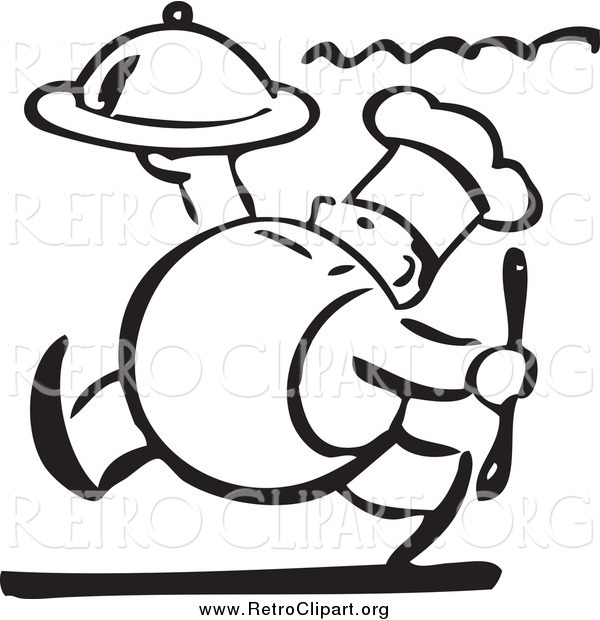 Clipart of a Retro Black and White Chubby Chef Carrying a Platter