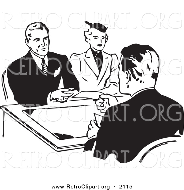 Clipart of a Retro Black and White Couple Discussing a Loan with an Officer
