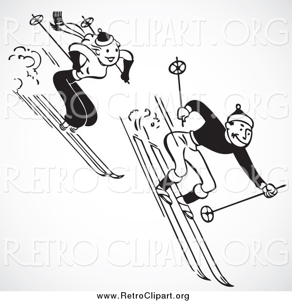 Clipart of a Retro Black and White Couple Skiing Downhill, over Gray Shading