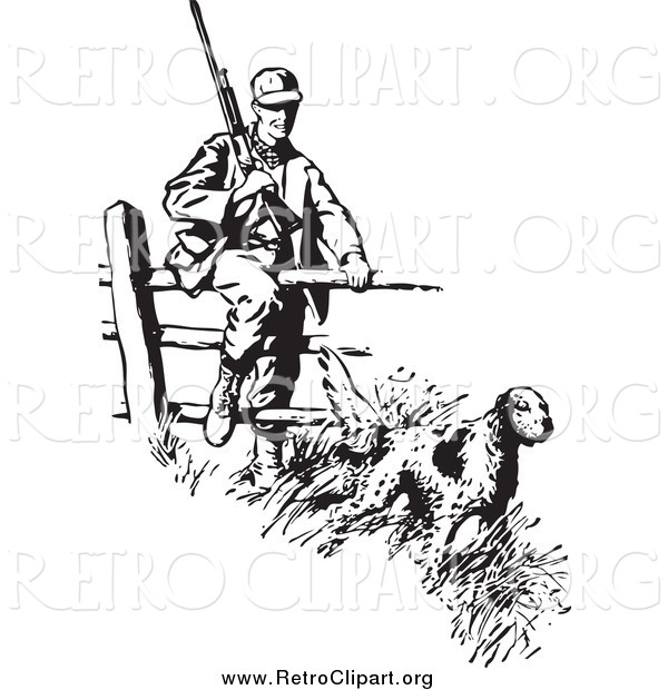 Clipart of a Retro Black and White Dog Leading a Hunter over a Fence