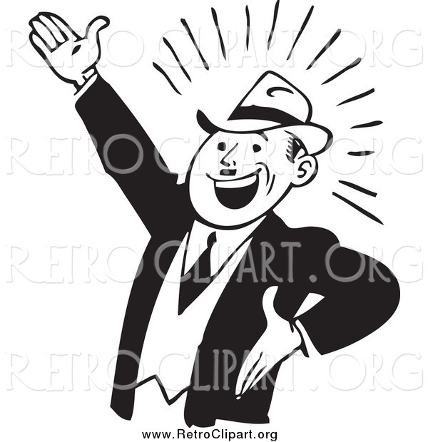 Clipart of a Retro Black and White Enthusiastic Businessman Gesturing up Left