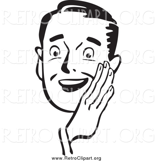 Clipart of a Retro Black and White Guy Holding His Hand Around His Mouth