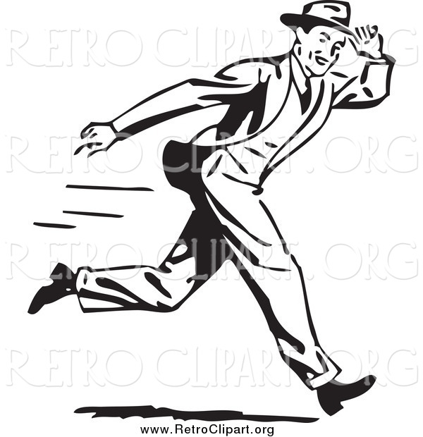 Clipart of a Retro Black and White Guy Holding onto His Hat While Running