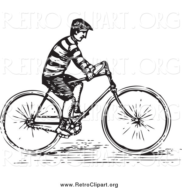 Clipart of a Retro Black and White Guy Riding a Bike