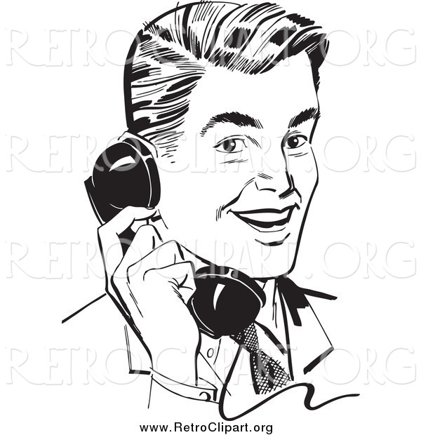 Clipart of a Retro Black and White Handsome Businessman Chatting on a Phone