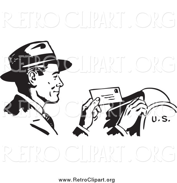 Clipart of a Retro Black and White Happy Businessman Dropping Mail in a Box