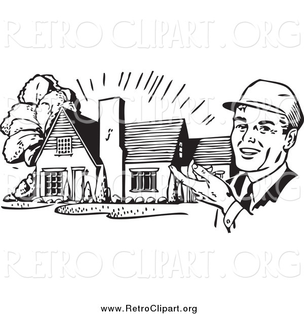 Clipart of a Retro Black and White Happy Male Architect Presenting a House
