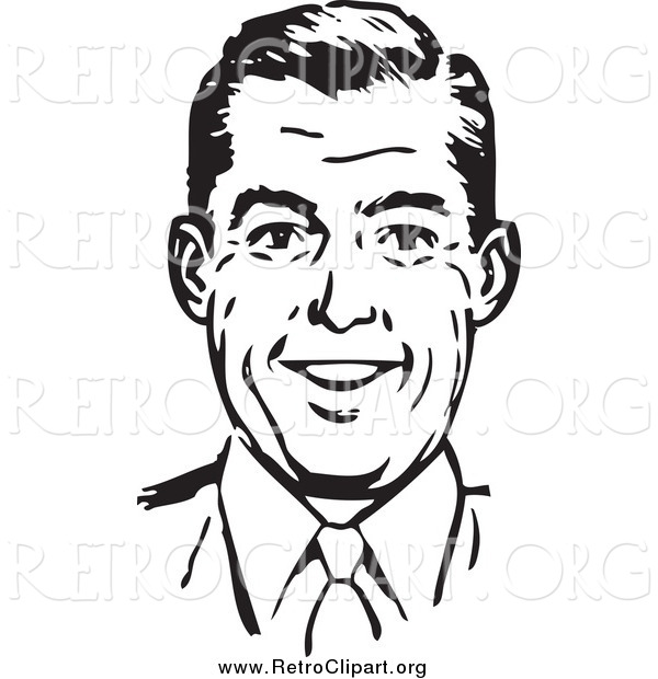 Clipart of a Retro Black and White Happy Man Smiling