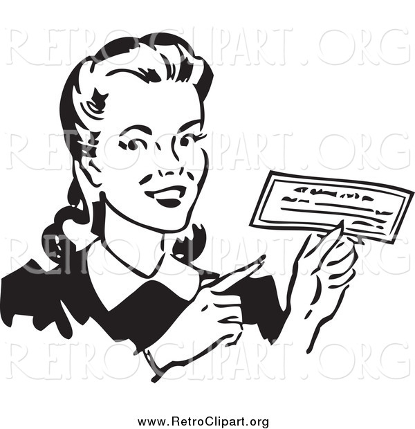 Clipart of a Retro Black and White Happy Woman Holding a Check