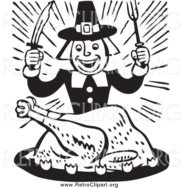 Clipart of a Retro Black and White Hungry Pilgrim Guy Eating Turkey