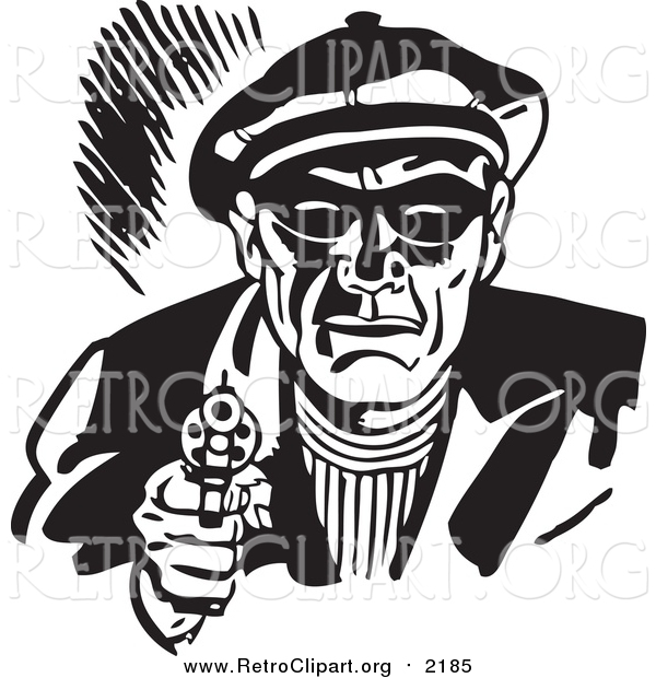 Clipart of a Retro Black and White Male Criminal Pointing a Gun