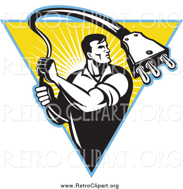 Clipart of a Retro Black and White Male Electrician Pulling a Cable Plug over a Sunny Triangle