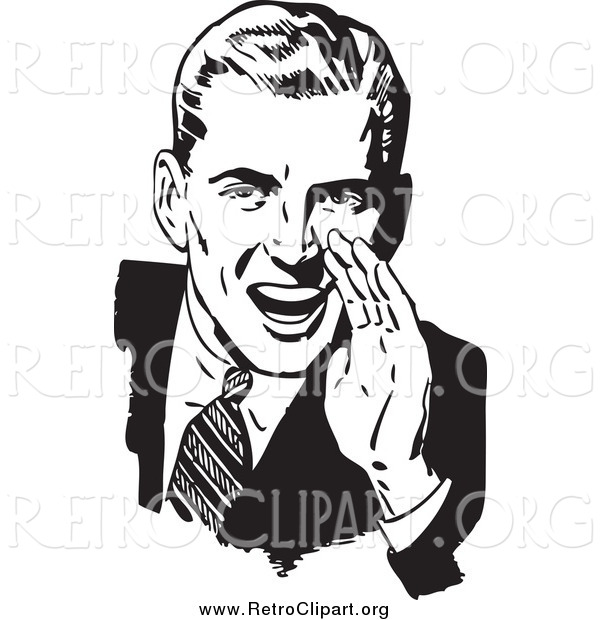 Clipart of a Retro Black and White Man Cupping His Hand Around His Mouth and Shouting