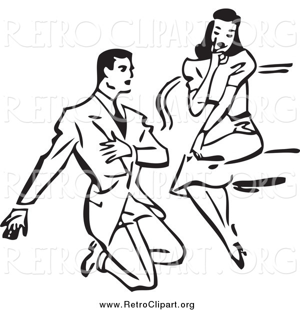 Clipart of a Retro Black and White Man Kneeling and Proposing to a Surprised Woman