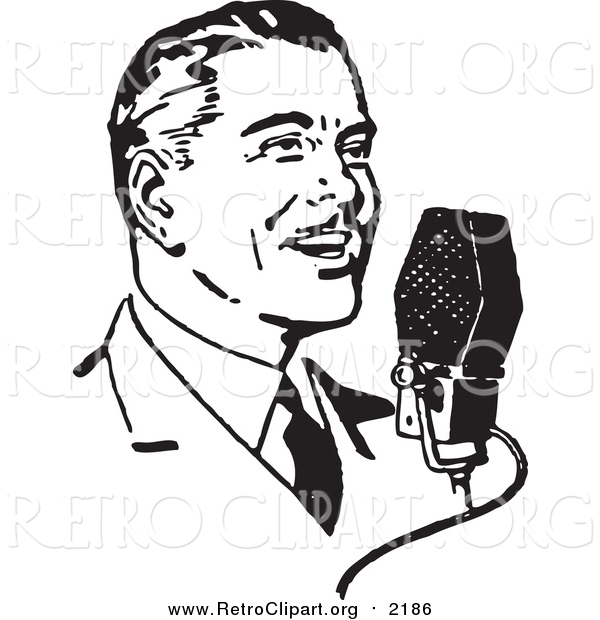 Clipart of a Retro Black and White Man Talking into a Microphone