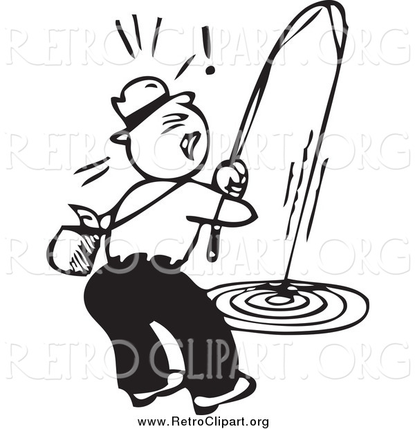Clipart of a Retro Black and White Man Trying Reel in a Fish