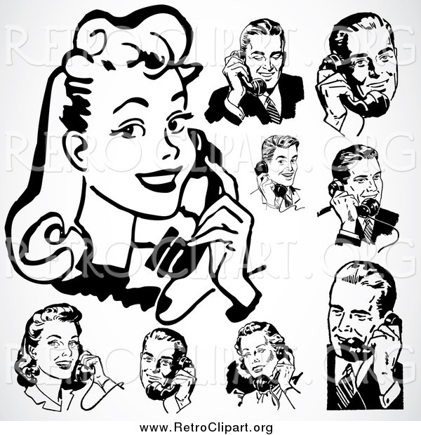 Clipart of a Retro Black and White People Using Telephones