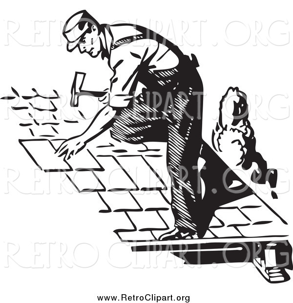 Clipart of a Retro Black and White Roofer