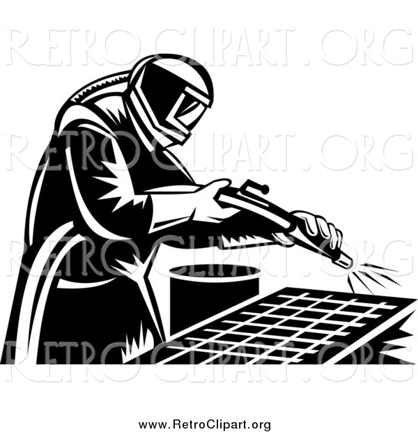 Clipart of a Retro Black and White Sand Blaster Man Working