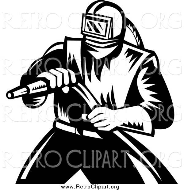 Clipart of a Retro Black and White Sand Blaster Worker Man Holding a Hose
