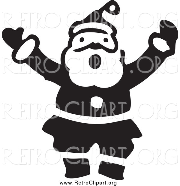 Clipart of a Retro Black and White Shouting Santa
