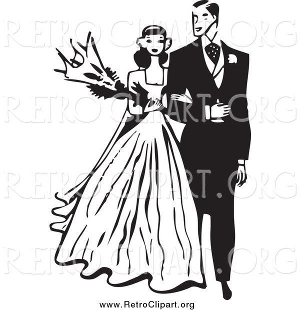 Clipart of a Retro Black and White Wedding Couple Walking Arm in Arm