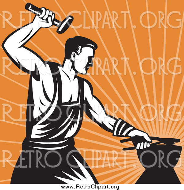 Clipart of a Retro Blacksmith Hammering over Orange Rays