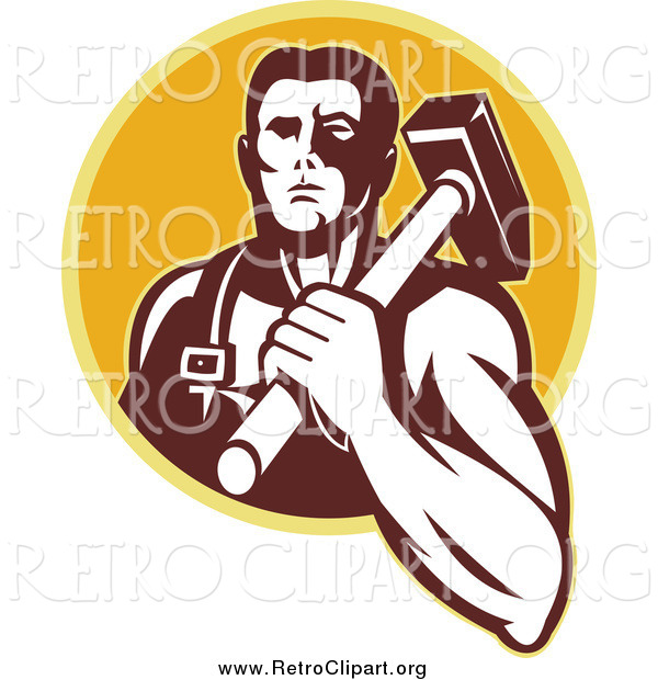 Clipart of a Retro Blacksmith Man with a Hammer over a Yellow Circle