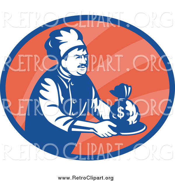 Clipart of a Retro Blue and White Chef Serving Money in an Orange Oval