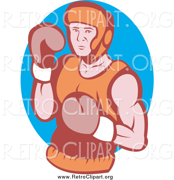 Clipart of a Retro Boxer over in a Blue Oval