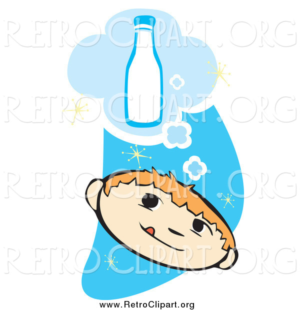Clipart of a Retro Boy Thinking of a Bottle of Milk over a Blue Starry Sky