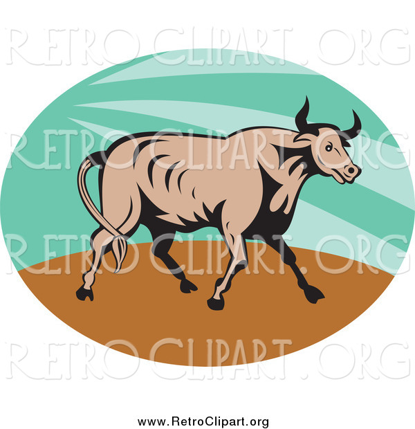 Clipart of a Retro Bull in a Green Sunshine Oval