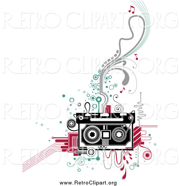 Clipart of a Retro Cassette Tape and Flourishes