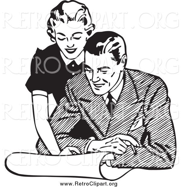Clipart of a Retro Couple Looking at Real Estate