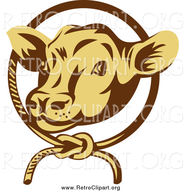 Clipart of a Retro Cow Face Emerging from a Rope Circle