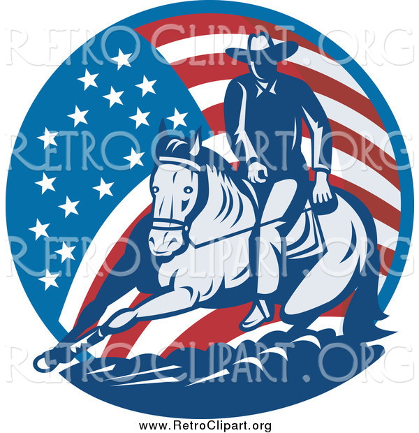 Clipart of a Retro Cowboy and Horse in an American Flag Circle