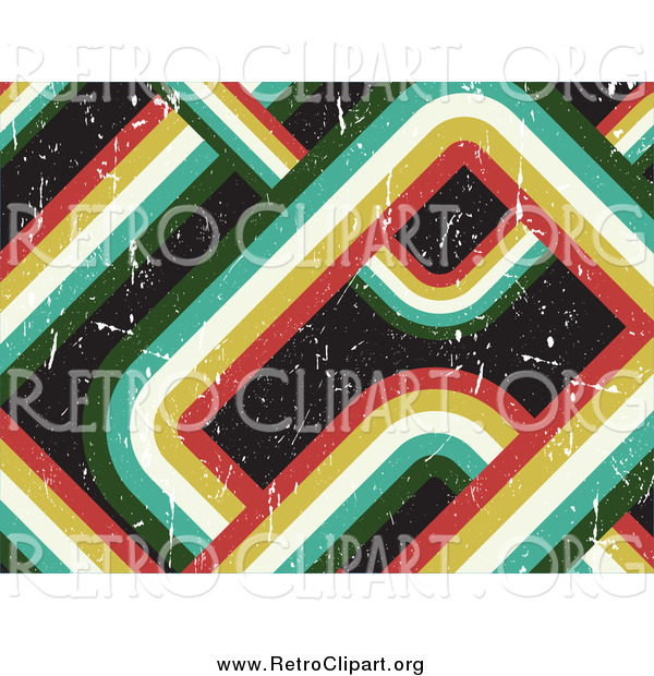 Clipart of a Retro Curving Striped Background with Scratches