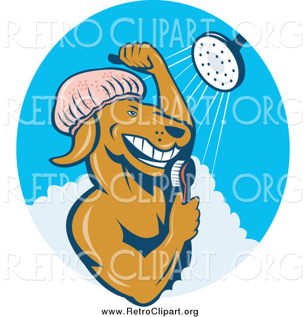 Clipart of a Retro Dog Showering