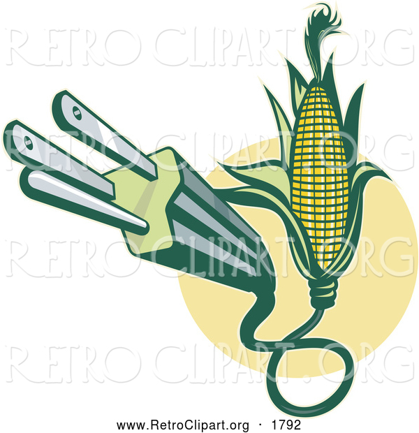 Clipart of a Retro Electric Plug Emerging from Corn
