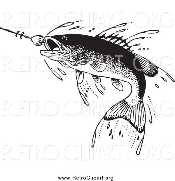 Clipart of a Retro Fish Swimming Towards a Lure